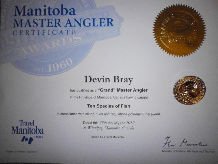 Manitoba Grand Master Angler Certificate