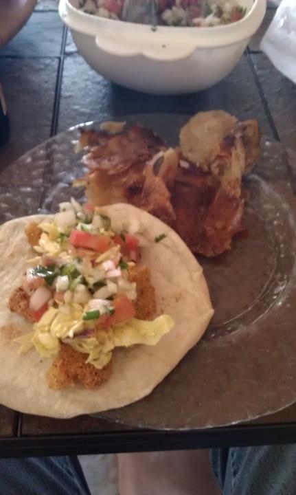 Fish Taco w/ Side of Potatos